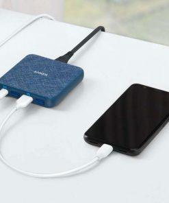 Anker PowerPort Atom III Slim 4 Ports Blue Fabric