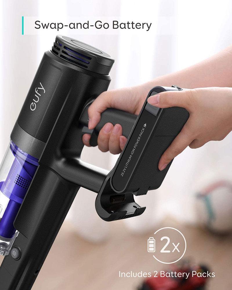 eufy par Anker HomeVac S11 Infinity,aspirateur-balai sans fil,puissance daspiration 120 AW,batterie suppl/émentaire d/étachable,nettoyage en profondeur de la moquette aux sols durs